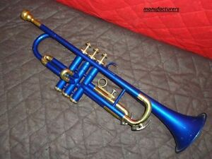 BEGINNER AND STUDENT! New BLUE AND BRASS COLOUR BbTrumpet Free Case+Mouthpiece