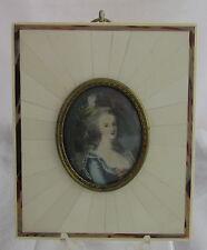 Antique Artist Signed Hand Painted Marie Antoinette Framed Miniature Portrait