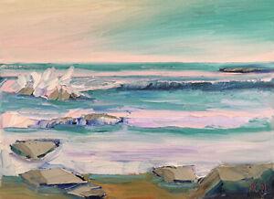 """MAUVE GLOW 2019 Original Expression Seascape Ocean Oil Painting 9x12"""" 021619 KEN"""