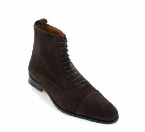 botas para hombre hecho a mano Puntera Marrón Cuero Ropa Formal Zapatos informales al tobillo Laceup