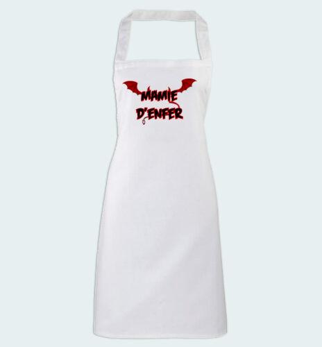 Tablier de Cuisine blanc Mamie d/'enfer cadeau pour super cuisinière grand-mère