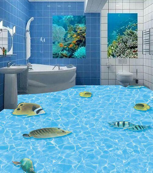 3D piso de agua peces esporádicos Papel Pintado Mural Parojo Calcomanía de impresión 5D AJ Wallpaper