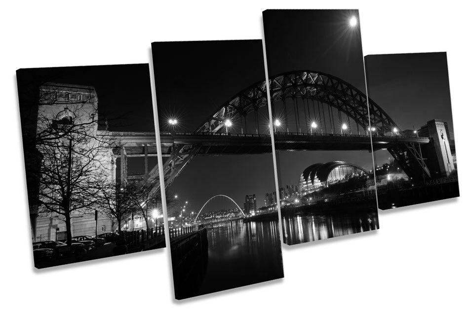 Tyne PONTE PONTE PONTE Newcastle NOTTE B&W Multi Canvas Wall Art Boxed incorniciato be54ca