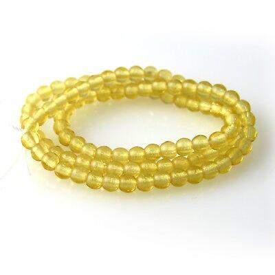 100 3mm Round Pressed Czech Glass Druk Beads Jonquil Yellow Transparent