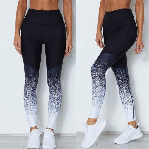 Womens Yoga Gym Butt Lift Compression Leggings Elastic Pants Yoga Leggings ET