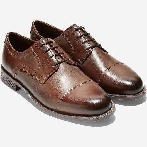 Cole Haan Dustin Cap Toe Oxford en cuir marron pour homme 8.5 M   chaussure nouveau Affaires