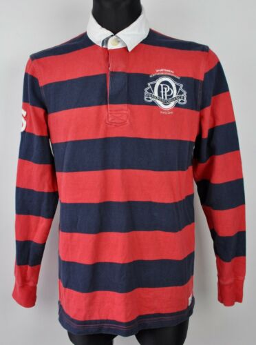 PEAK PERFORMANCE Polo Shirt Large Men/'s Cotton Red Striped Long Sleeved Rugby L