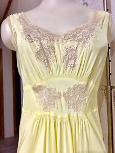 Lady Duff Bur-Mil Rayon Large Size 38-18 1930's 1940's Yellow Negligee Nightgown