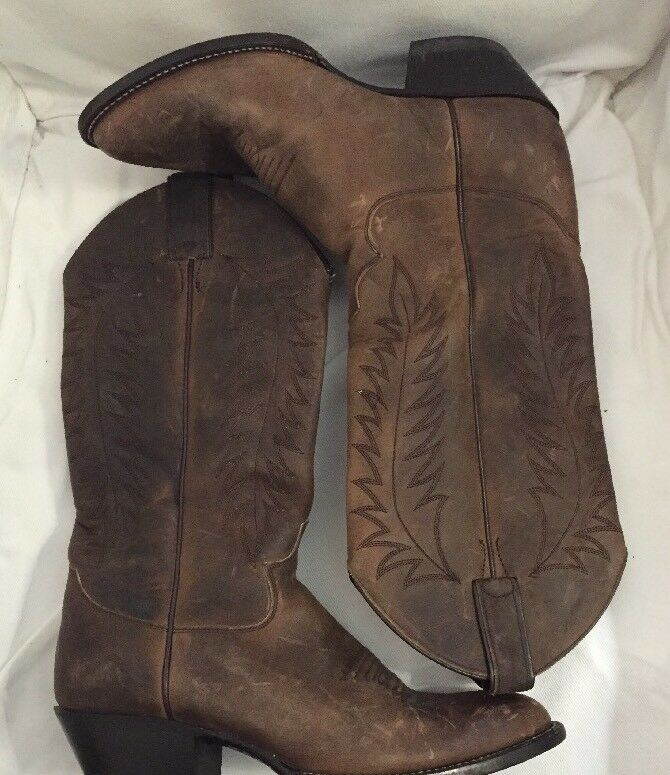 WOMENS JUSTIN Leather Distressed Cowboy Boots 7.5 B Brown FALL COOL WEATHER
