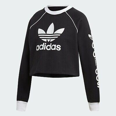 26853c758 Adidas Originals Women's WINTER EASE CROP Crew Sweatshirts Black/White  DH4714 c