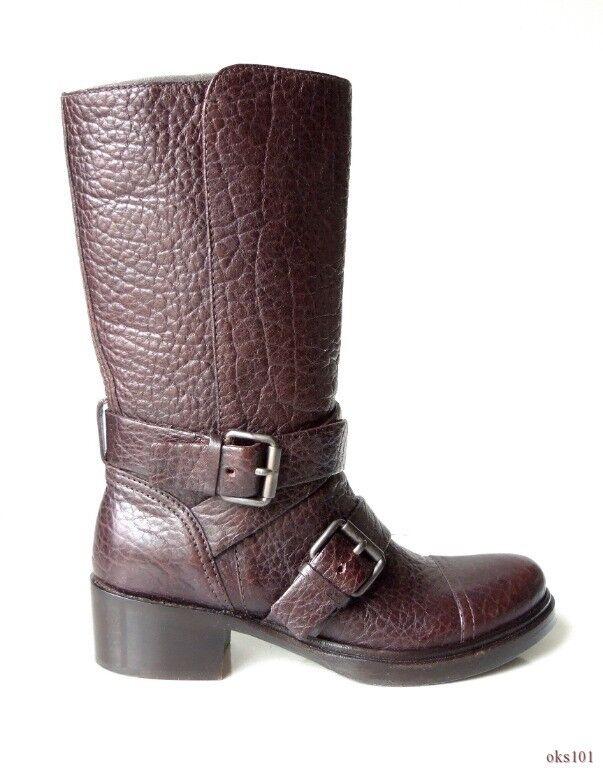 New  995 MIU MIU PRADA dark brown leather buckled BIKER BOOTS 35.5 5.5 - HOT