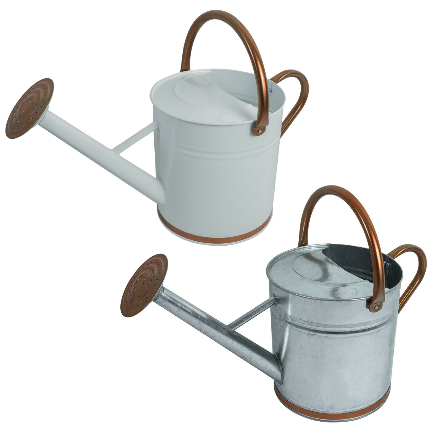Woodside 9L Metal Garden and Plant Watering Can with Rose