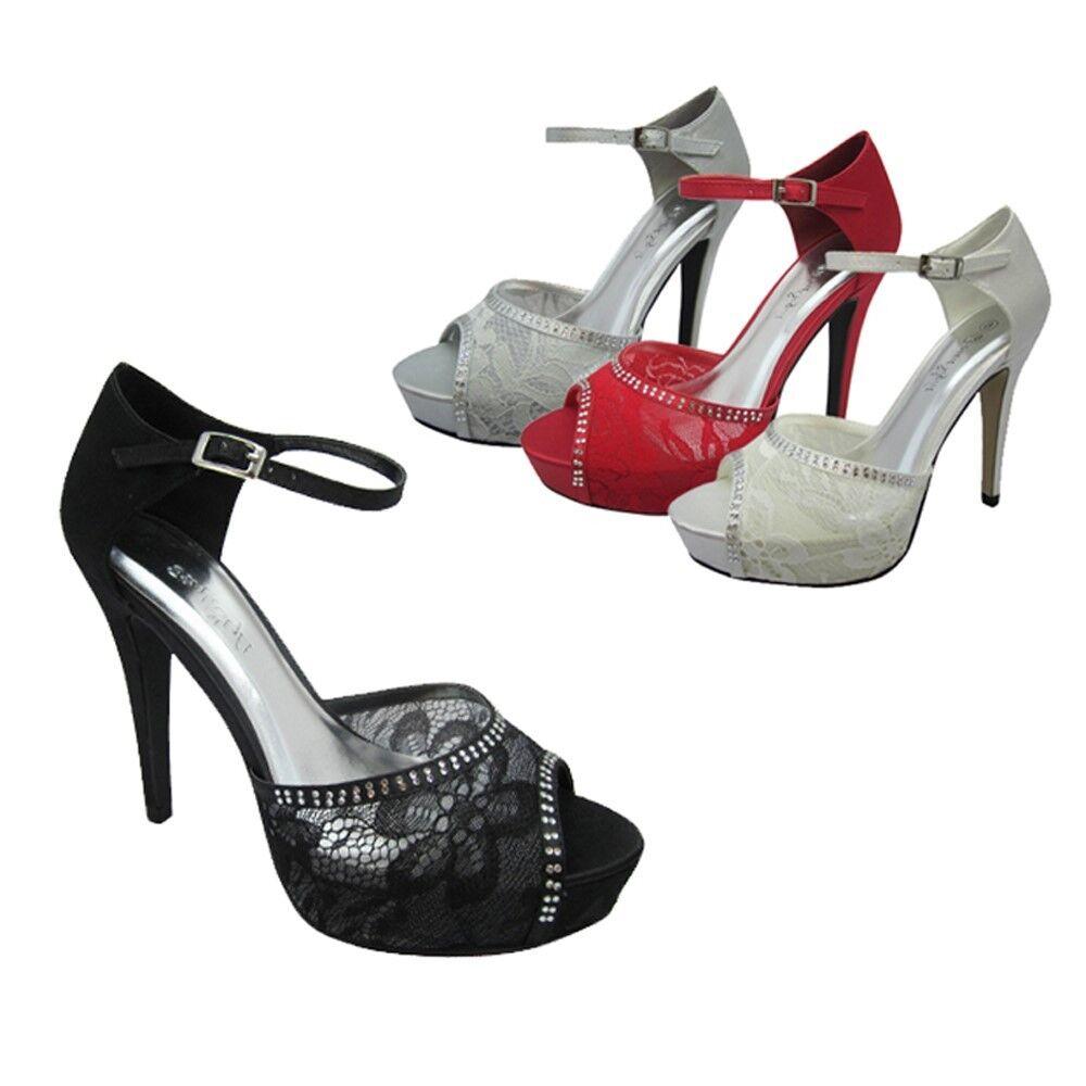 Women's Mary Jane Pumps Heels Peep Toe Lace Hollow Sandals Shoes Wedding Sizes