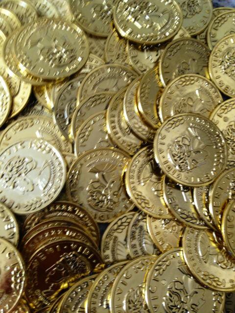 100 Gold Play Coins Treasure Birthday Party Favor Loot Golden Pirate Pinata Bulk