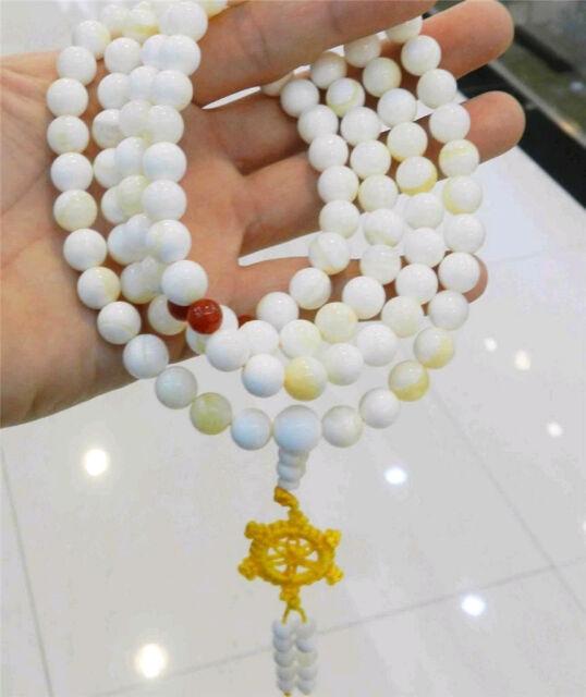 108 Tibetan Buddhist White gold Tridacna Gigas Gems Prayer 10mm Beads Necklace