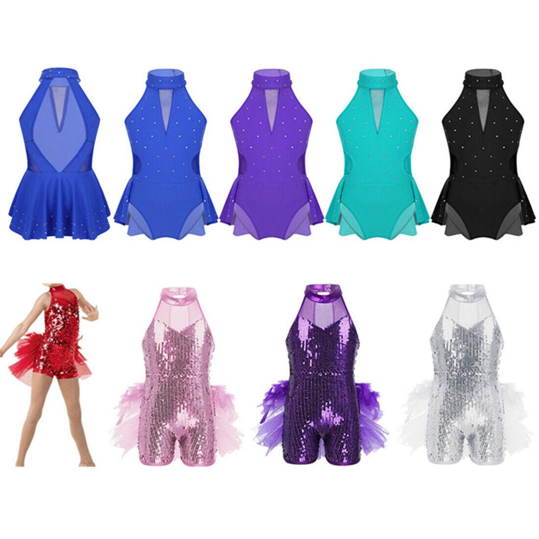 Girls Sequins Jazz Latin Dance Dress Gymnastics High Neck Leotard Ballet Costume
