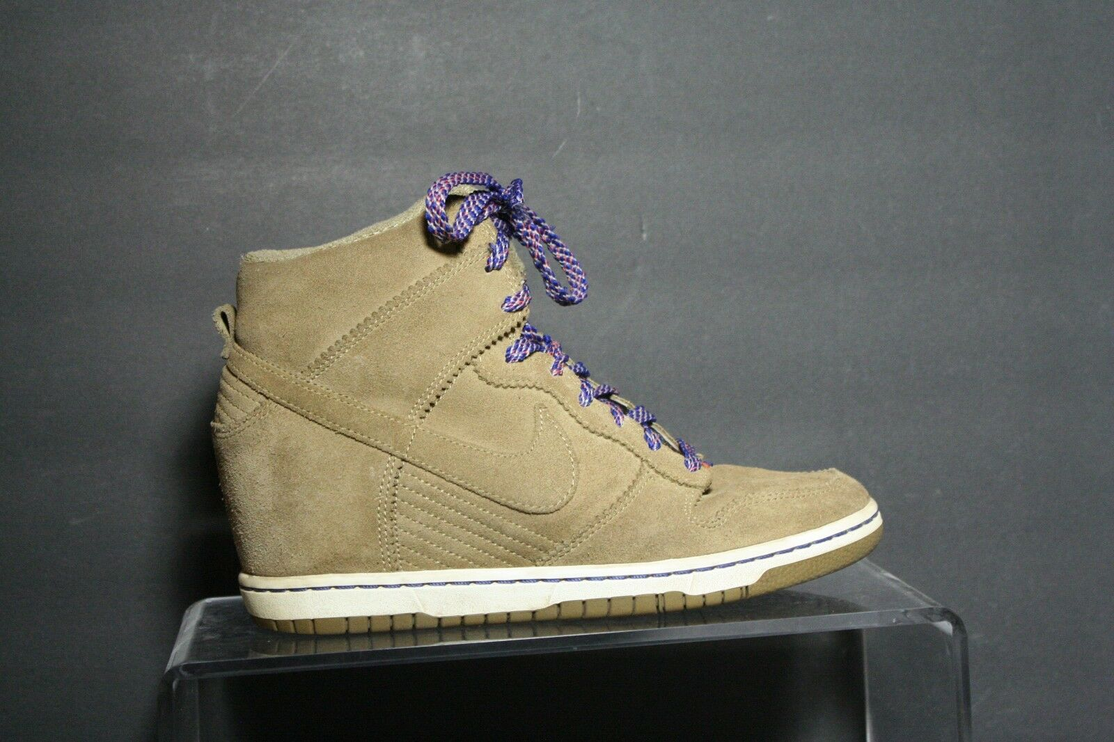 Nike Dunk Sky High Wedge Sneaker '12  Multi Tan Women 9.5 Athletic Hip Blue EUC