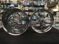 Chrome 240 Fat Tire Felon Wheels And Sprocket For 1999-2016 Suzuki Hayabusa
