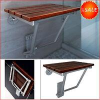 Folding Teak Shower Chair Bath Seat Wood Spa Bench Stainless Chrome Mount Shelf