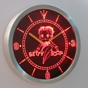 Betty boop 3d neon sign led wall clock nc0233 r ebay for Betty boop neon wall clock