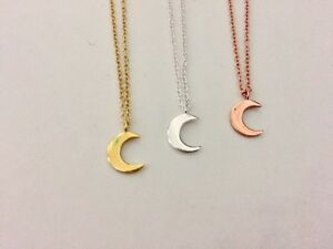 925-Sterling-Silver-18K-Gold-Rose-Crescent-Moon-Necklace-Small-Mini-Pendant