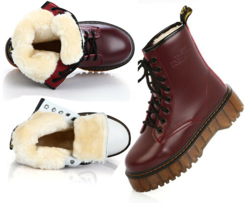 Womens Fur Lined Winter Platform Creepers Punk Snow Ankle Boots Biker Flat Shoes