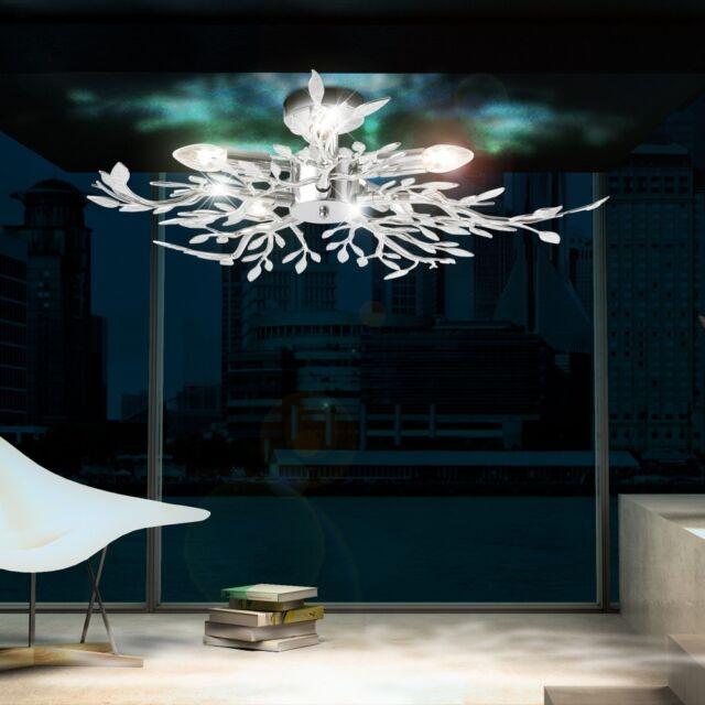 Decken Leuchte Beleuchtung Acryl Bltter Verchromt Wohnzimmer Lampe Lster Licht