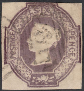 1854-SG59-6d-DULL-LILAC-EMBOSSED-CUT-SQUARE-3-LARGE-MARGINS-VERY-LIGHT-CANCEL