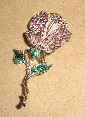 Weiss Brooch Earrings Pink Green Crystals Rose Bush Clip On Rhinestones Delicate Dainty Elegant Jewelry Set Glamorous Romantic Vintage