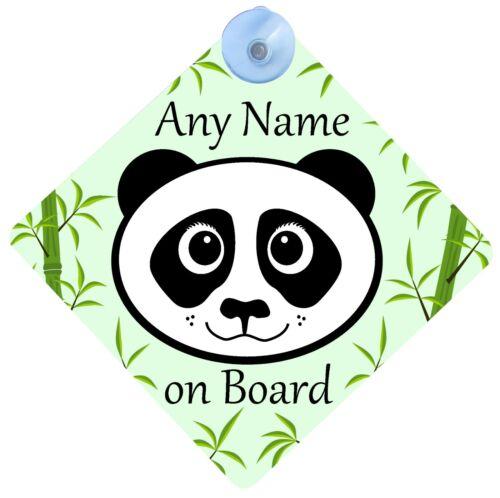PERSONALISED CUTE PANDA BABY ON BOARD PRINT CAR SIGN 16.5 CM DIAMETER