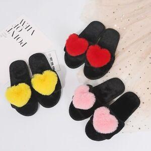 WOmen-039-s-Girls-Cute-Heart-Fluffy-Flat-Open-toe-Slide-Slippers-Sandals-US4-5-8