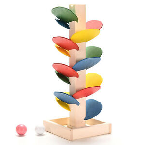 Novelty Kids Child Montessori Educational Toy Block Wooden Tree Marble Ball Run