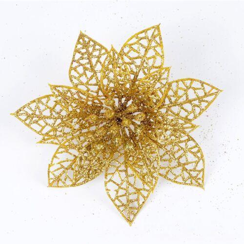 10pcs Christmas Flowers Xmas Trees Decor Glitter Hollow Wed Birthday Party Cute