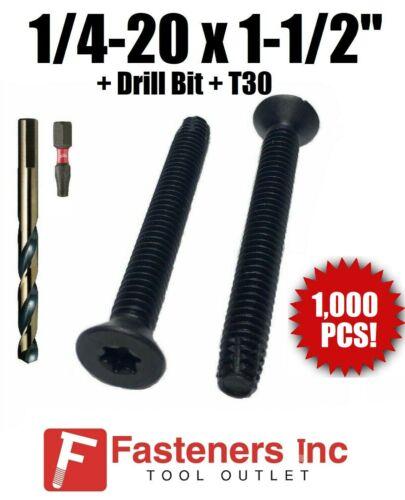 """1//4-20 x 1-1//2/""""Torx Trailer Flooring Floorboard Screws DRILL BIT+T30 Qty 1000"""