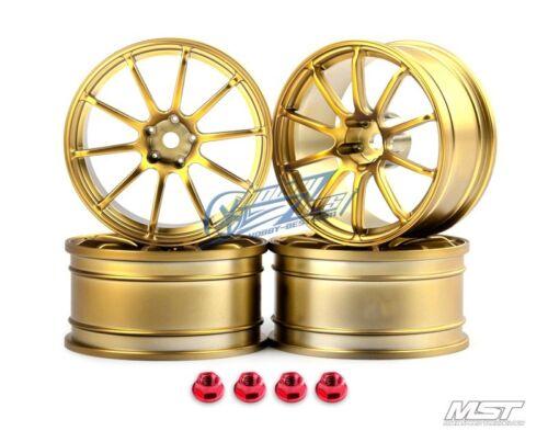 MST Gold RS II 1//10 Drift Car Wheels offset 5 4 PCS 102068GD New
