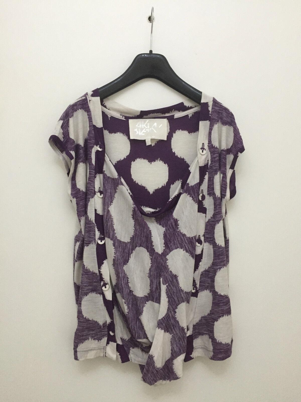 BLAAK - Viscose Front Twist Reverse Print Heart Pattern Vest