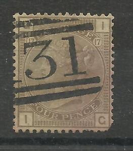 1873/80 Sg 154, 4d Grey Brown (IG) Plate 17, Garter Watermark, Average used.