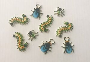 9 x Edible Icing Bug Fly Cupcake Toppers Decorations Cakes Boys Bug Party Theme