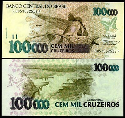 BRAZIL  CRUZEIROS 100000 100,000. P-235b ND 1993 UNC C-228