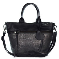 Gianni Chiarini Italian Made Lead & Black Genuine Leather Medium Tote Handbag