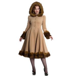 Laufschuhe günstig Modestil von 2019 Details zu Hell Bunny Retro Vintage Wintermantel Mantel Kunstfell - Isadora  Coat Camel