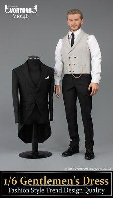 "VORTOYS V1009 1//6 Scale Retro Gentleman Suit White Shirt Set For 12/"" Figure Body"