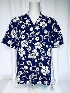 39b3a7e6a RJC Men's Hibiscus Blue White XL Floral Hawaiian Aloha Shirt | eBay