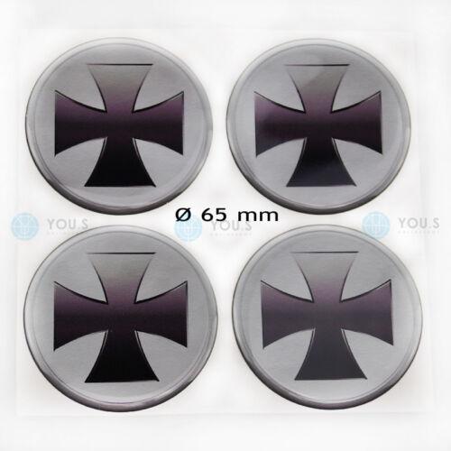 4 x silicona tapacubos llantas pegatinas sticker cruz cruz emblema 65 mm