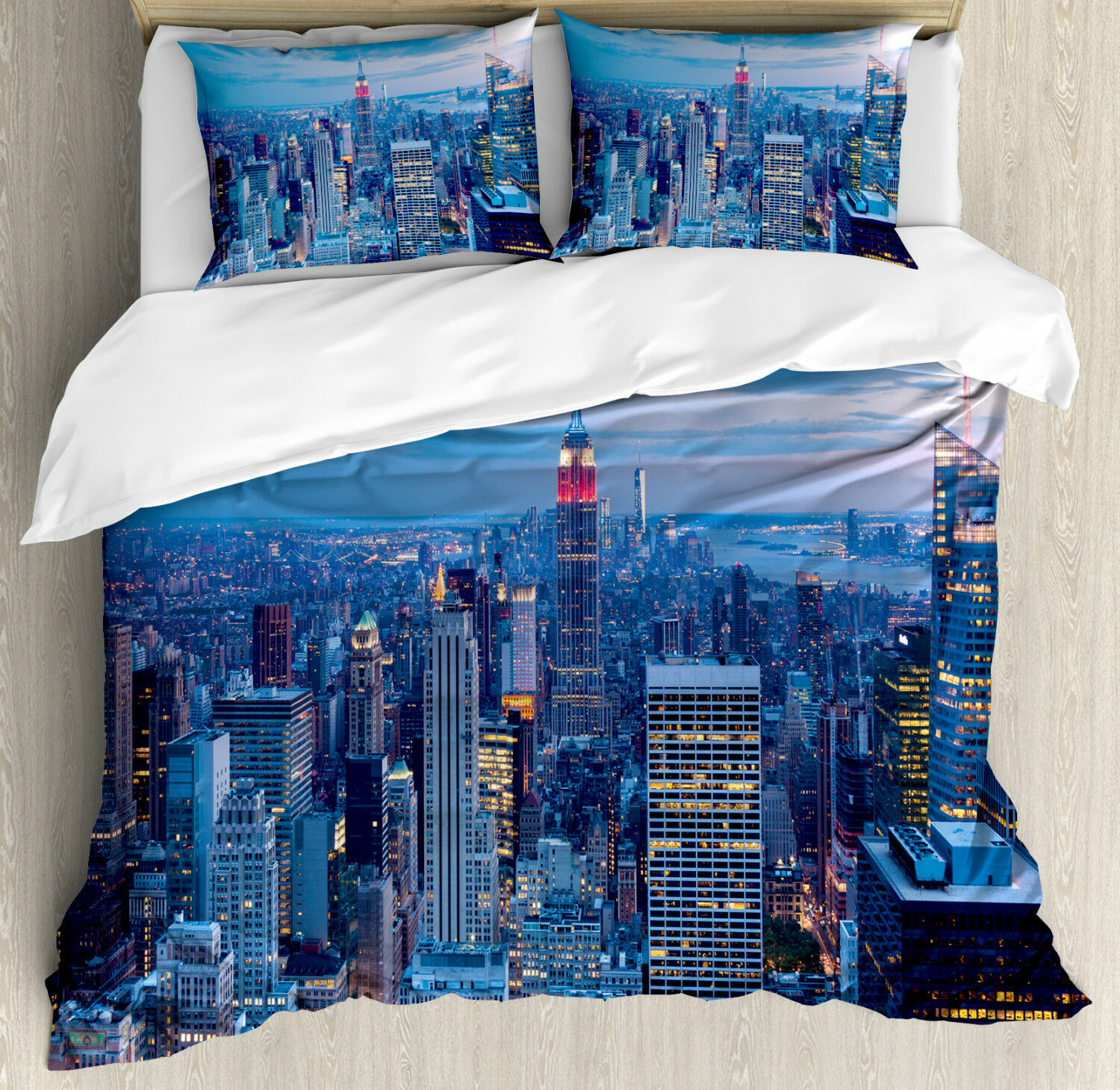 Landscape Duvet Cover Set with Pillow Shams Sunset in NYC Photo Print