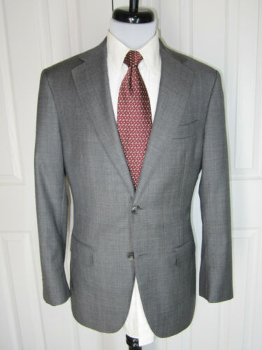 XLNT! SUIT SUPPLY GRAY WEAVE DUAL VENT SUPER 110S