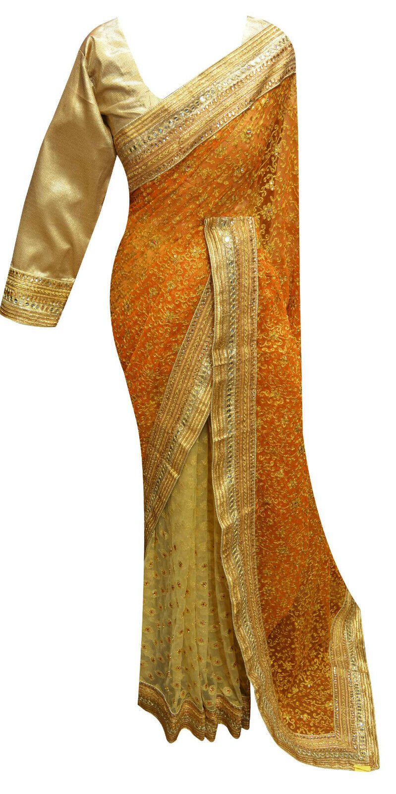 Indian gold net saree for Wedding & Bollywood Theme Party wear shop in