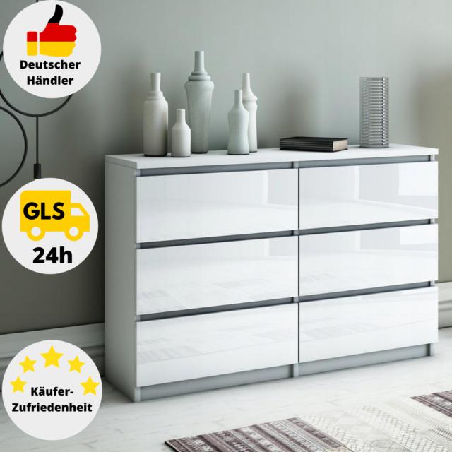 Schöne moderne Kommode mit 8 Schubladen 140 cm Sideboard  Schrank Weiß Sonoma