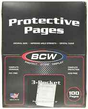 100 BCW 3-Pocket Currency Size Binder Pages - NEW