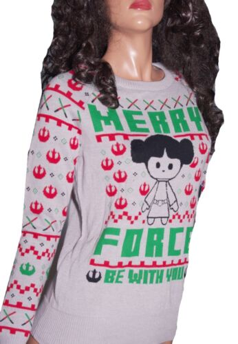 PRINCESS LEIA Womens STAR WARS UGLY Christmas Sweater Party MERRY FORCE XS NEW